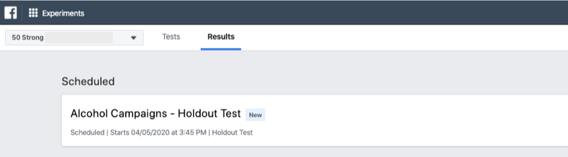 scheduled tests for Facebook Experiments