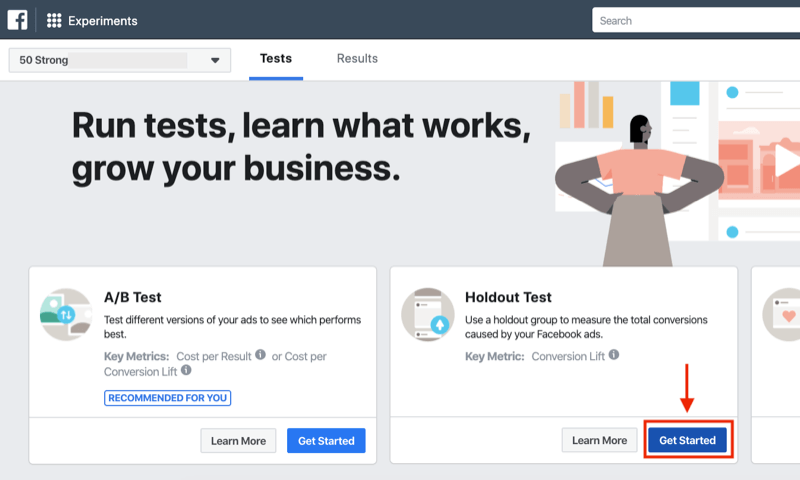Get Started button for holdout test for Facebook Experiments