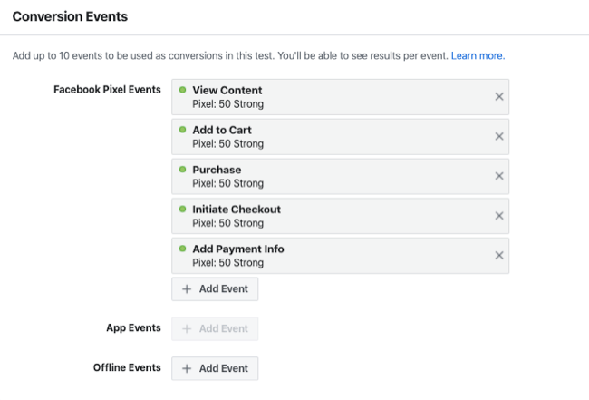 conversion events for holdout test for Facebook Experiments