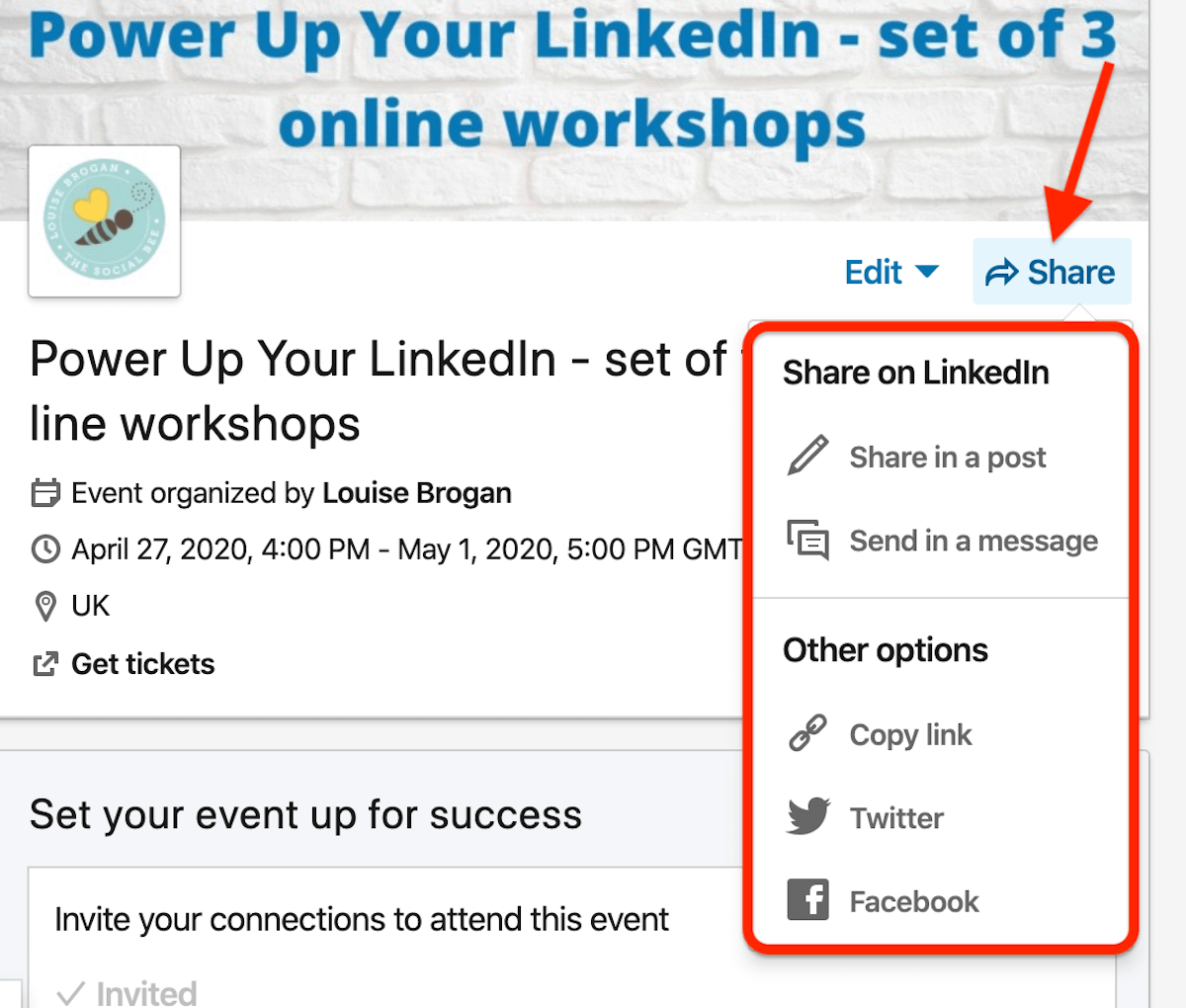 options for sharing LinkedIn event outside of feed