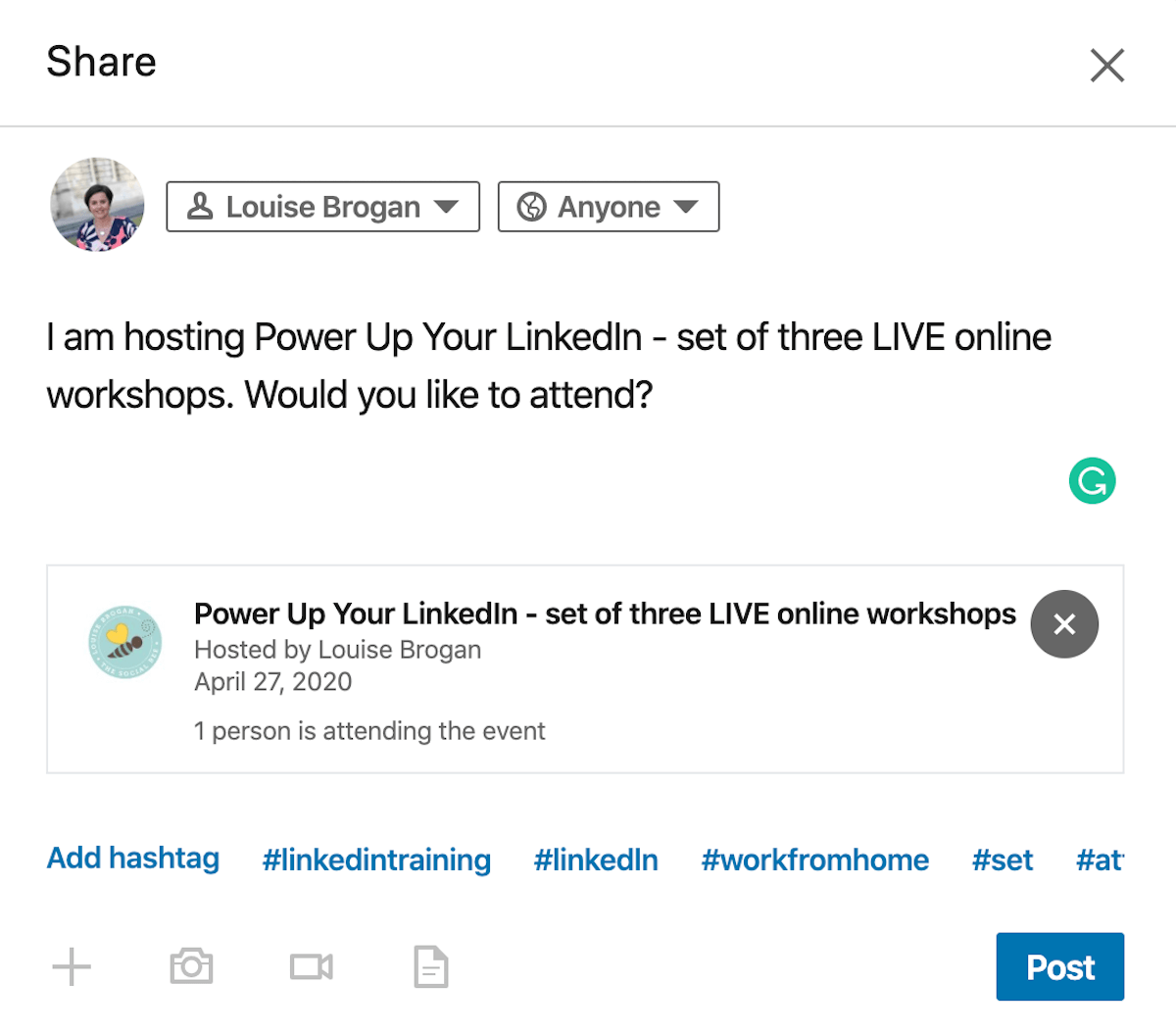 Share dialog box for sharing LinkedIn event with network