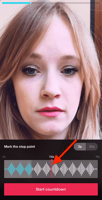 select specific length of time for effect when recording TikTok video