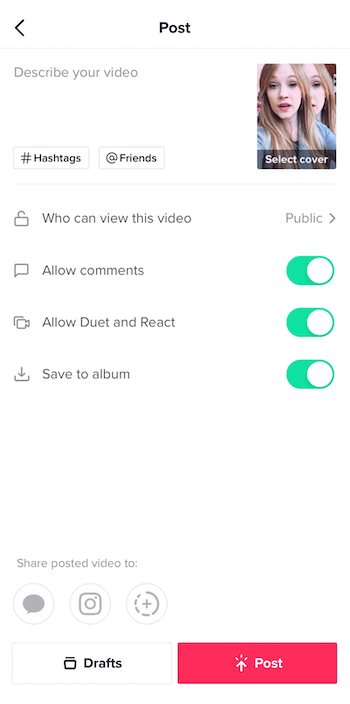 TikTok post screen