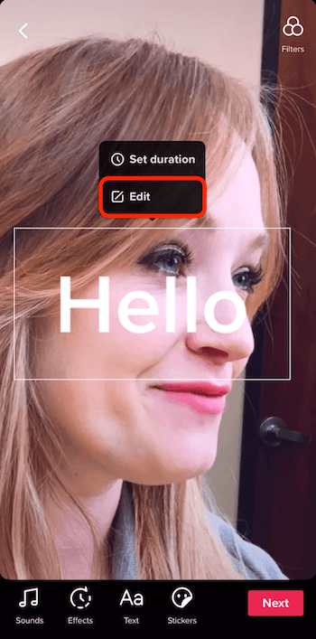TikTok Edit option in popup menu for text