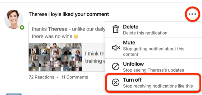 Turn Off option for LinkedIn event notifications
