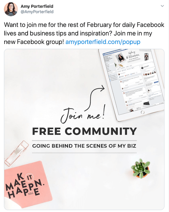 tweet promoting Facebook pop-up group