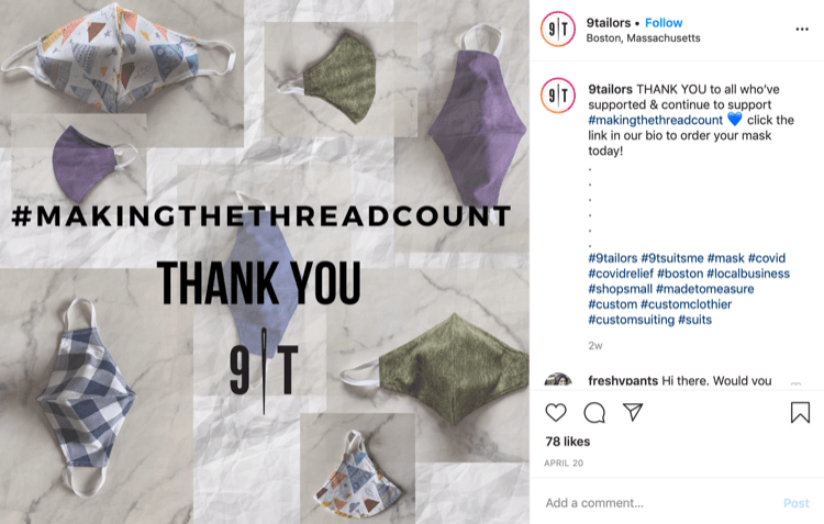 9Tailor Instagram post about sales of masks