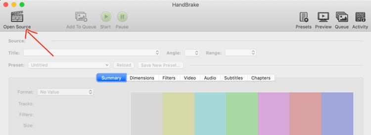 select video to import into HandBrake