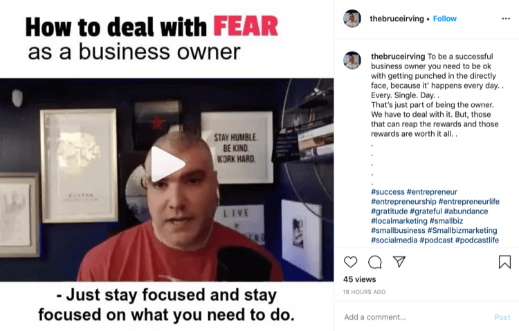 Bruce Irving Instagram post about how to deal with fear as a business owner