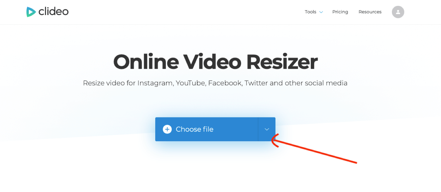 upload video to Clideo Online Video Resizer