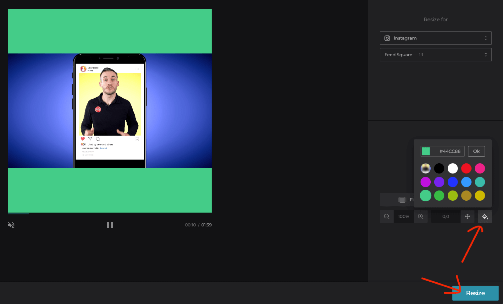 select background color for square video in Clideo Online Video Resizer