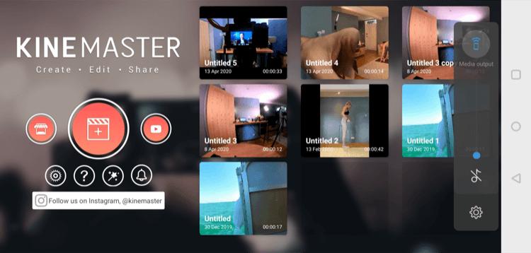 main screen for KineMaster mobile app