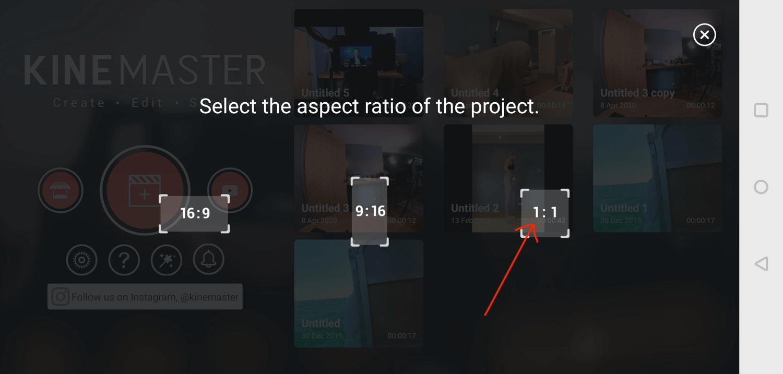 select square (1:1) video aspect ratio in KineMaster mobile app