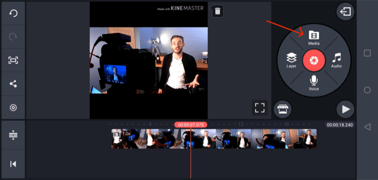 import video into KineMaster mobile app