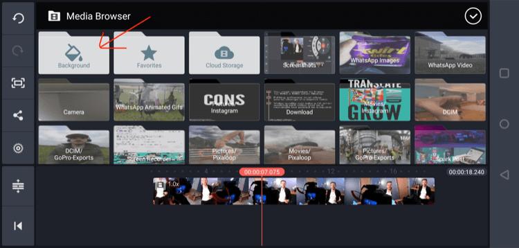 select Background folder in Kinemaster mobile app
