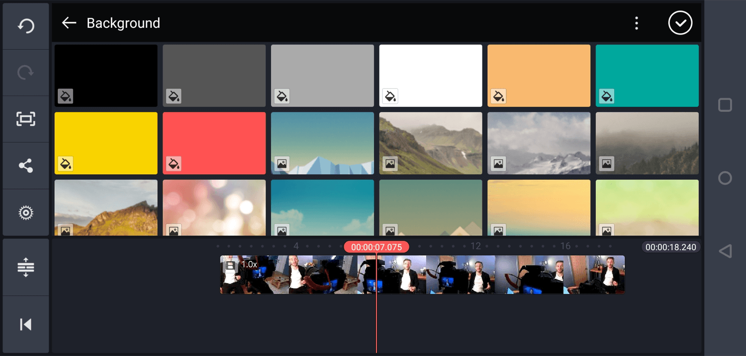 select background color in Kinemaster mobile app