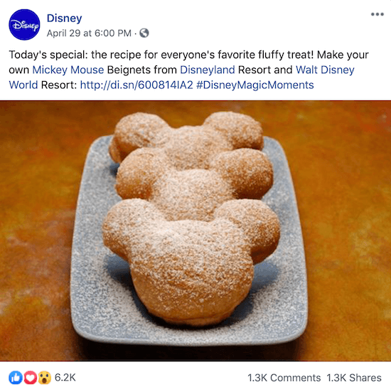 Disney Facebook post with link to recipe for Mickey Mouse beignets