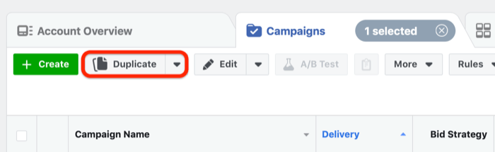 Duplicate button in Facebook Ads Manager