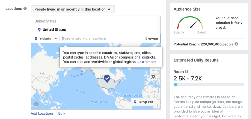 Locations targeting in Facebook Ads Manager