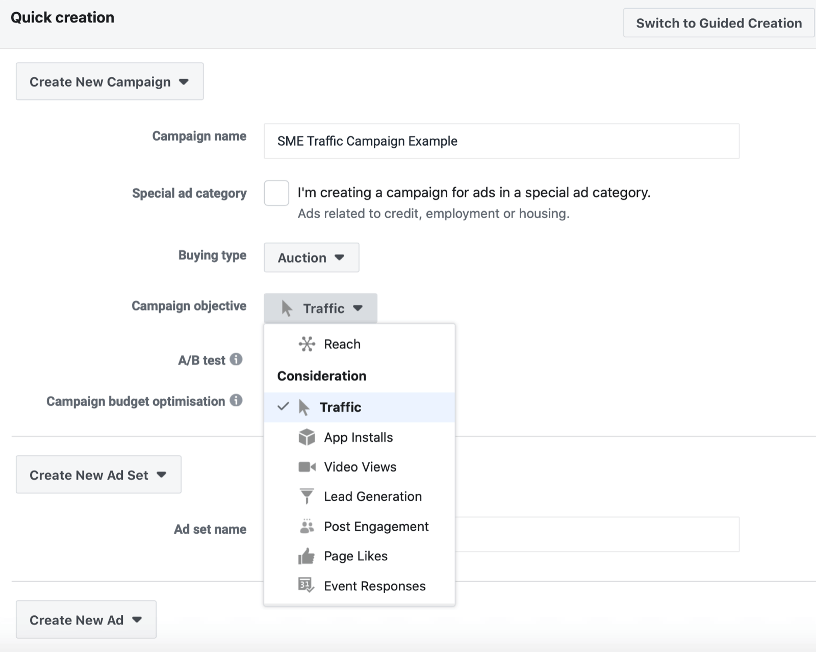 select Traffic as Facebook campaign objective