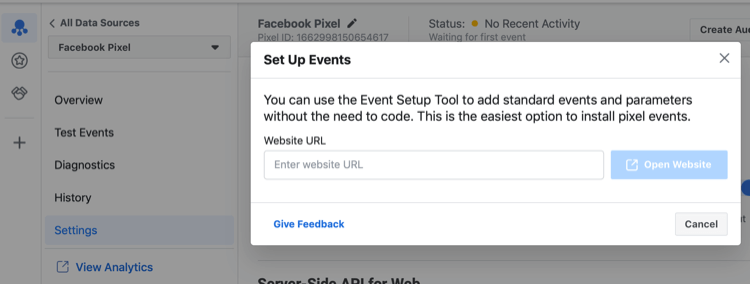 Facebook event setup tool
