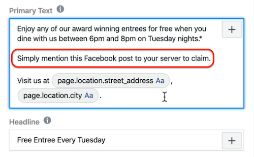 Primary Text field at ad level in Facebook Ads Manager