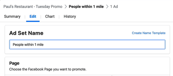 edit Ad Set Name field in Facebook Ads Manager