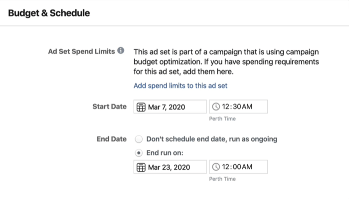 Budget & Schedule section at ad set level in Facebook Ads Manager