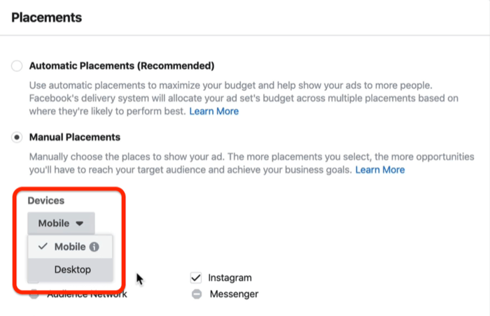 Mobile option checked in Devices drop-down menu in Placements section in Facebook Ads Manager