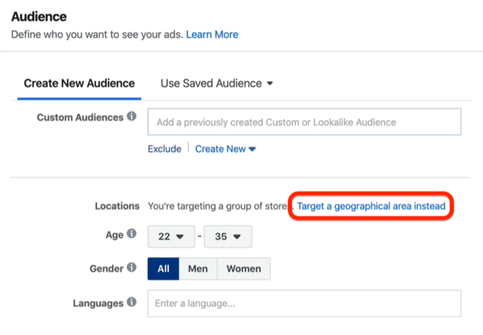Target a Geographical Area Instead option in Facebook Ads Manager