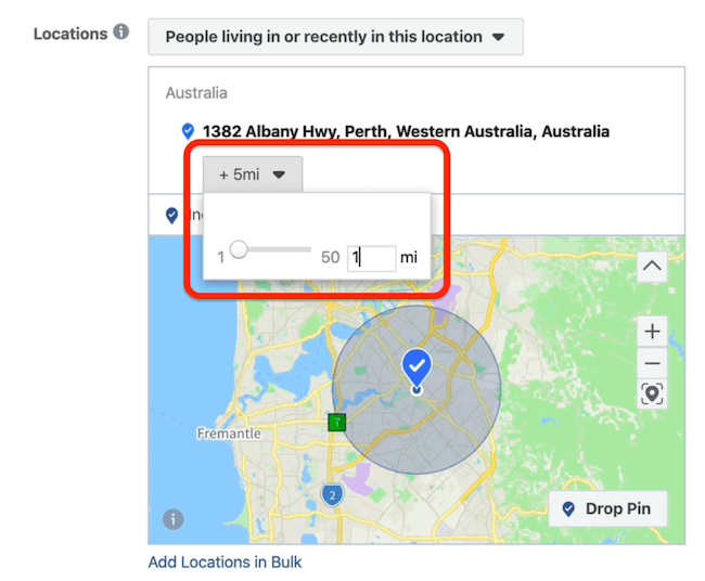 select 1 mile radius at ad set level in Facebook Ads Manager