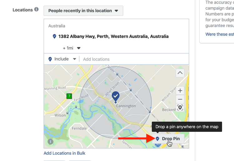 Drop Pin button at ad set level in Facebook Ads Manager