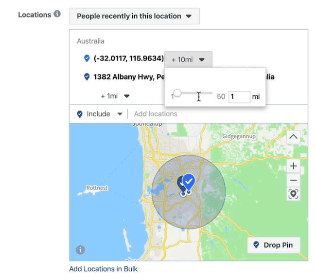 elect 1 mile radius at ad set level in Facebook Ads Manager