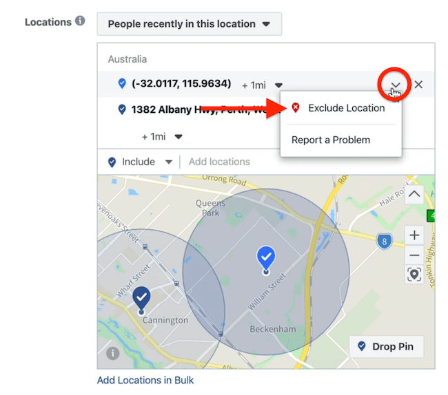 Exclude Location option at ad set level in Facebook Ads Manager