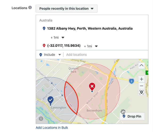 exclusion pin at ad set level in Facebook Ads Manager