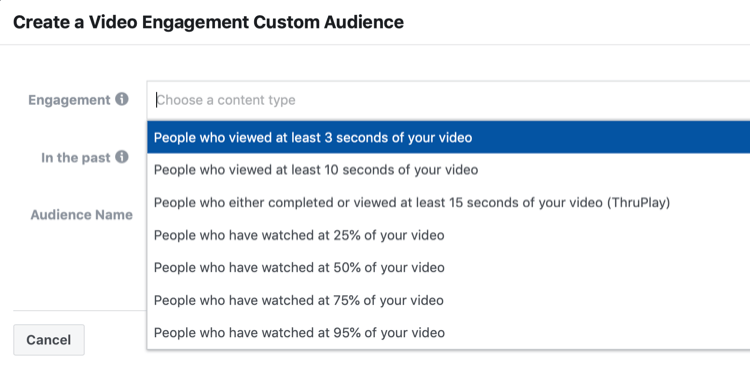 Create a Video Engagement Custom Audience set-up window