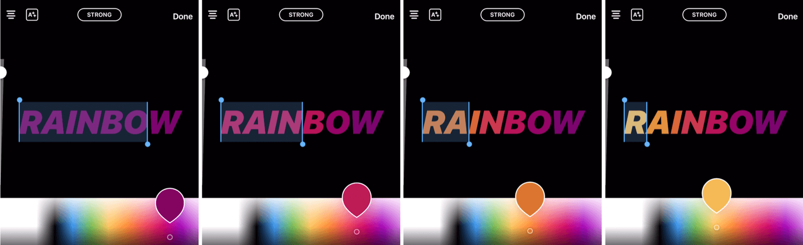 create rainbow text in Instagram Stories