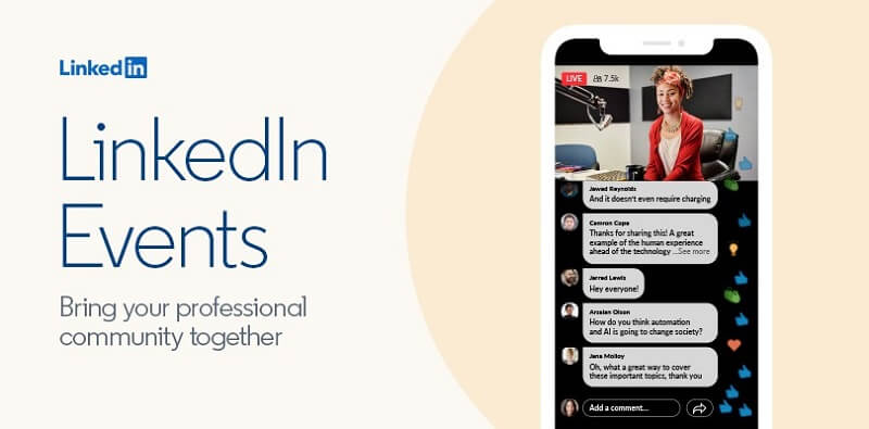 New LinkedIn Virtual Events tool that lets people create and broadcast video events via its platform.