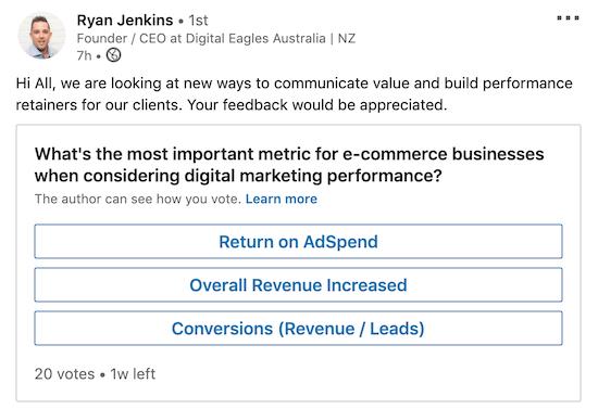 voorbeeld van een LinkedIn-peiling om de interesse in klantendiensten te peilen