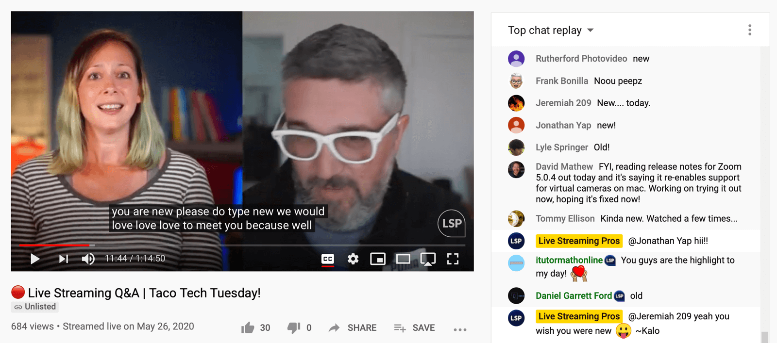 screenshot of Live Streaming Pros Facebook Live video with chat replay