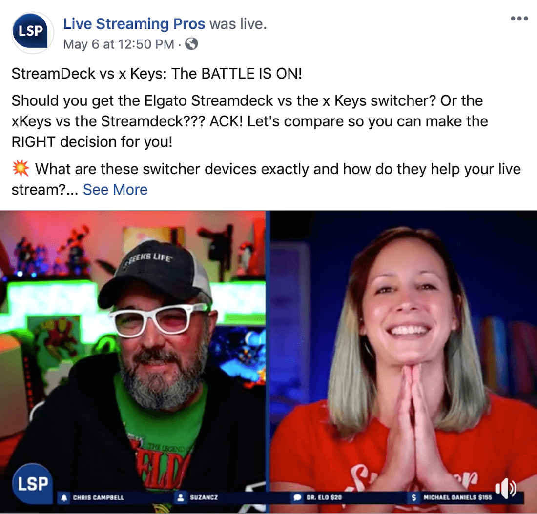screenshot of Facebook Live broadcast on Live Streaming Pros Facebook page