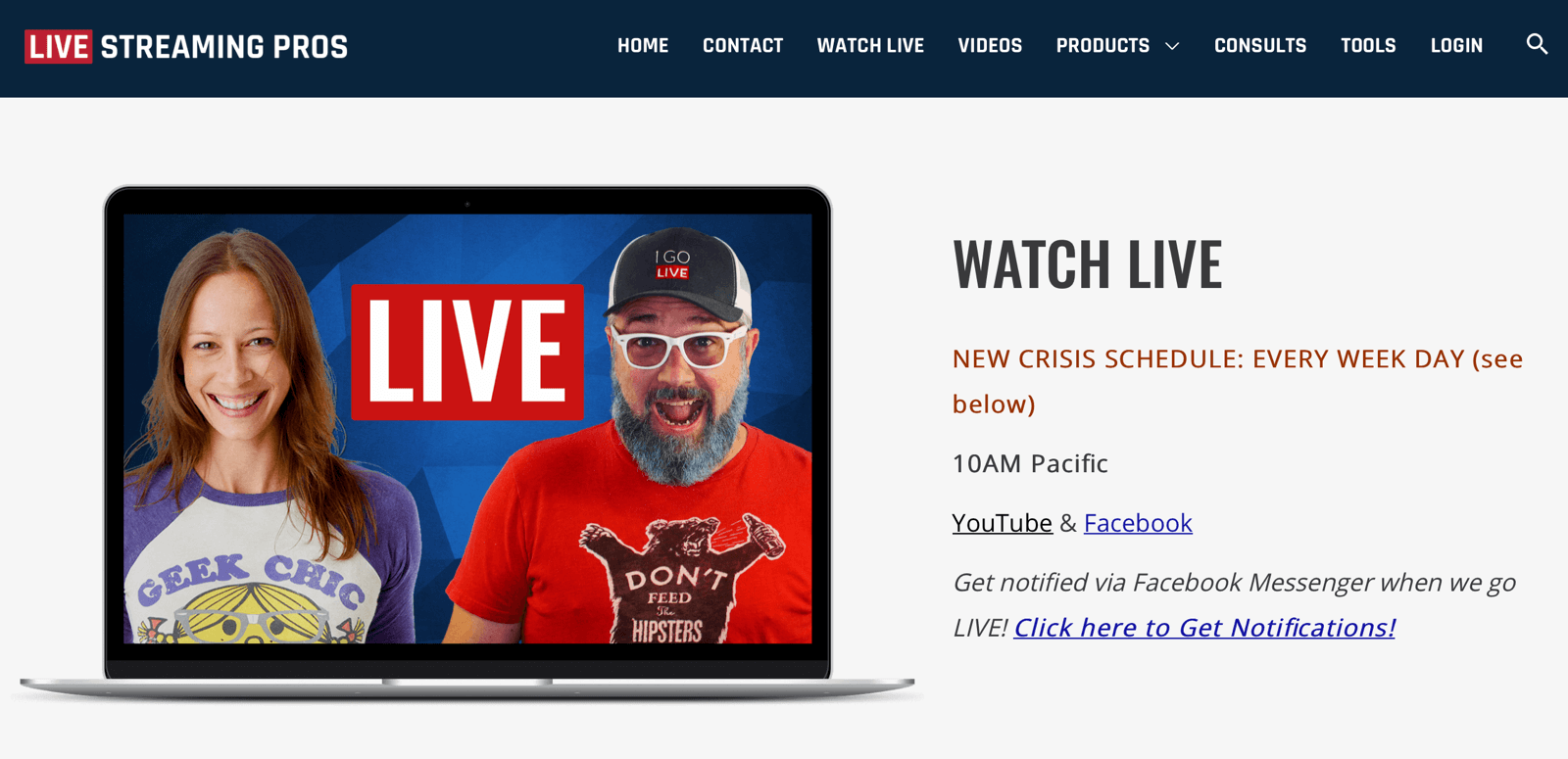 broadcast schedule on Live Streaming Pros website