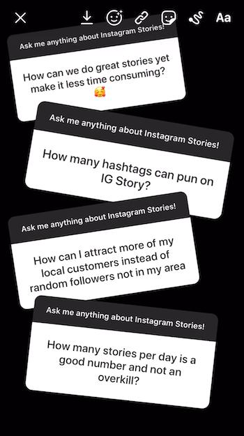 voeg meerdere vragen stickerreacties toe aan Instagram-verhaalafbeelding
