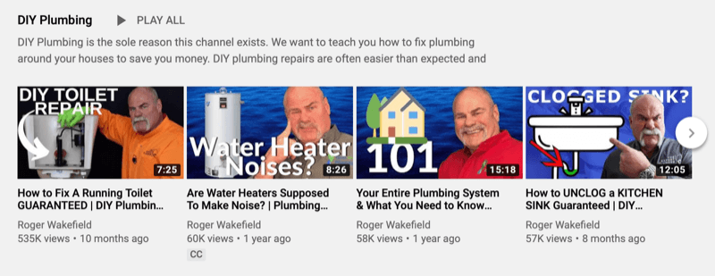 Roger Wakfield YouTube playlist for DIY plumbing