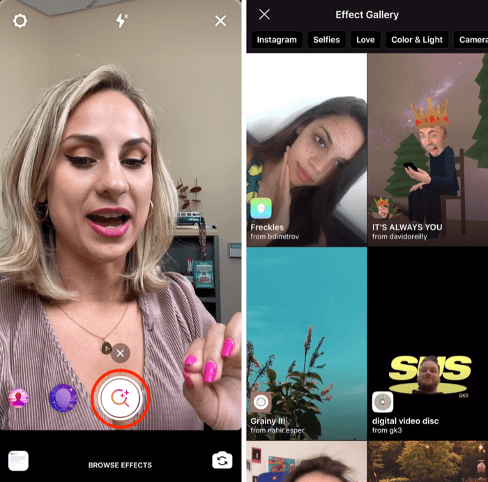 save Instagram Stories effects