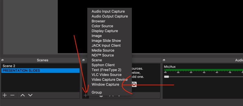 select Window Capture option in OBS Studio