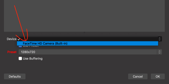 select camera or webcam from Device list in OBS Studio