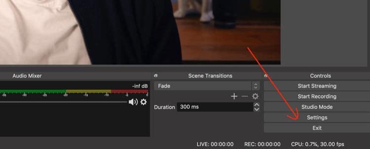 Settings button in OBS Studio