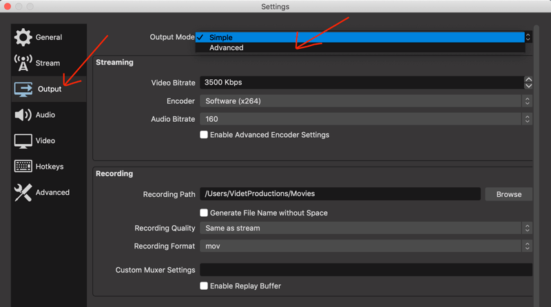 Output tab in OBS Studio settings