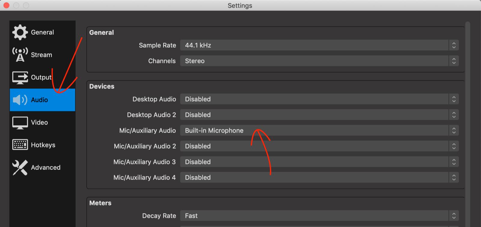 Audio tab in OBS Studio settings